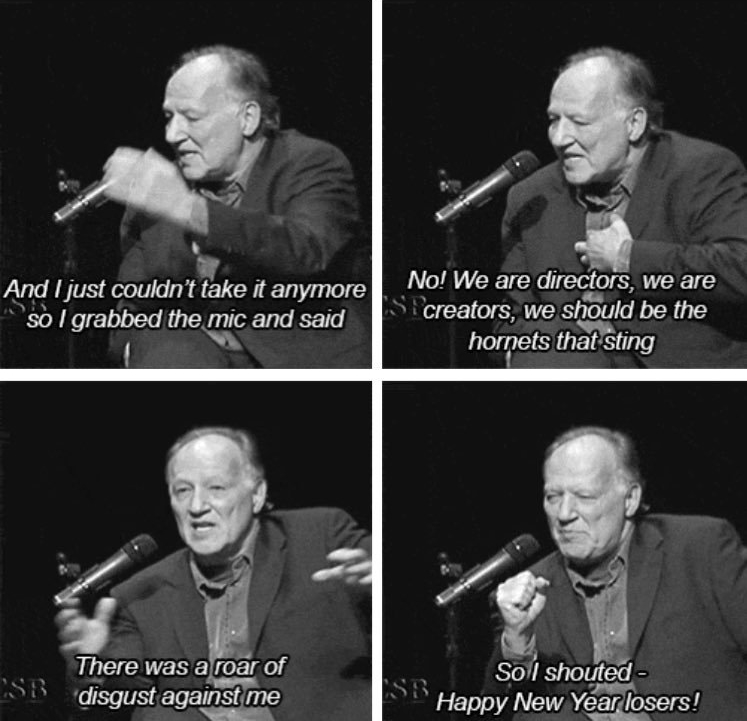 "Werner Herzog's ""Happy New Year, losers!"""