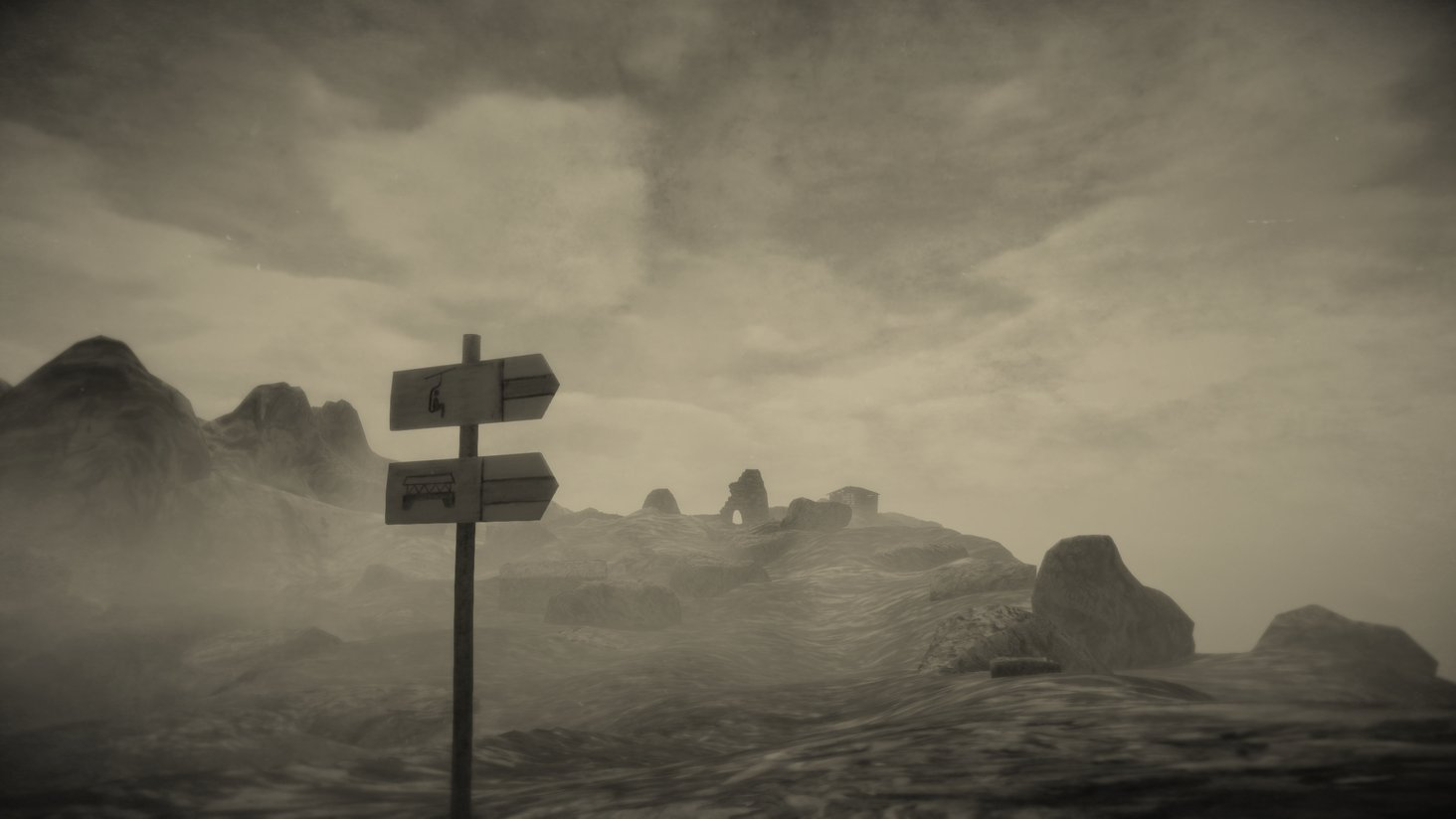 Ein Screenshot von Mundaun. Zu sehen sind Wanderwegweiser vor einem Nebelmeer